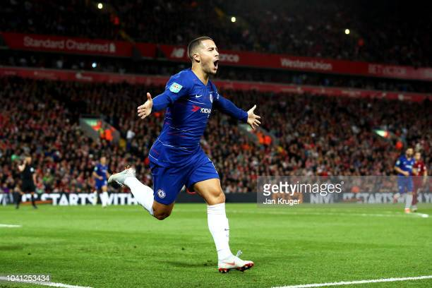 Eden Hazard of Chelsea celebrates after he scores his sides second goal during the Carabao Cup Third Round match between Liverpool and Chelsea at...