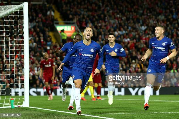 Eden Hazard of Chelsea celebrates after he scores his side's second goal during the Carabao Cup Third Round match between Liverpool and Chelsea at...
