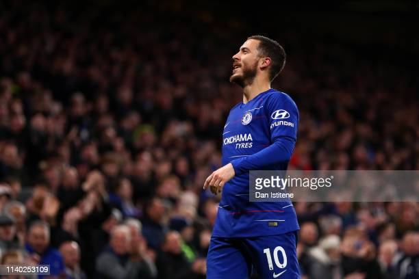 Eden Hazard of Chelsea celebrates after scoring a goal during the Premier League match between Chelsea FC and Brighton Hove Albion at Stamford Bridge...