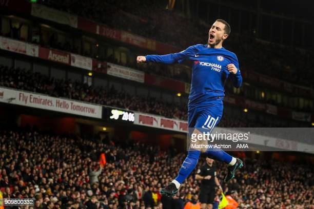 Eden Hazard of Chelsea celebrates after scoring a goal to make it 01 during the Carabao Cup SemiFinal Second Leg match between Arsenal and Chelsea at...