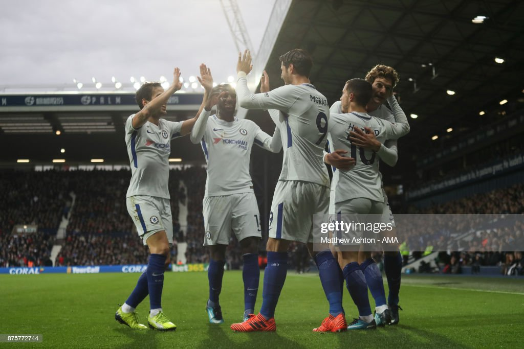 Eden Hazard of Chelsea celebrates after scoring a goal to make it 0-2 during the Premier League match between West Bromwich Albion and Chelsea at The Hawthorns on November 18, 2017 in West Bromwich, England.
