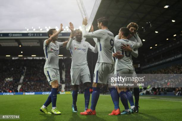 Eden Hazard of Chelsea celebrates after scoring a goal to make it 02 during the Premier League match between West Bromwich Albion and Chelsea at The...