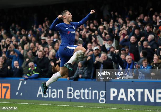 Eden Hazard of Chelsea celebrates after scoring a goal to make it 11 during the Premier League match between Chelsea and Newcastle United at Stamford...