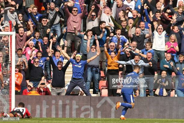 Eden Hazard of Chelsea celebrates after scoring a goal to make it 22 during the Premier League match between Southampton and Chelsea at St Mary's...