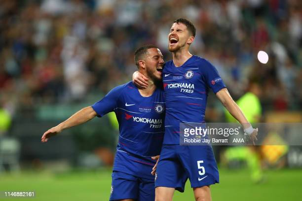 Eden Hazard of Chelsea celebrates after scoring a goal to make it 30 with Jorginho during the UEFA Europa League Final between Chelsea and Arsenal at...