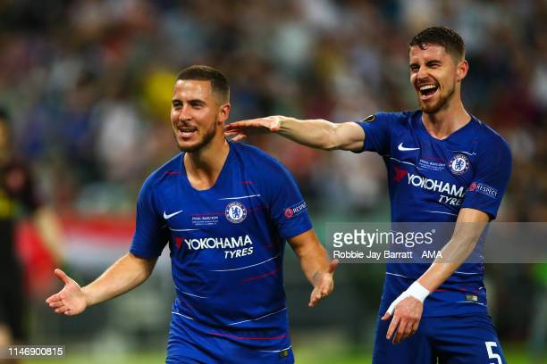 Eden Hazard of Chelsea celebrates after scoring a goal to make it 30 during the UEFA Europa League Final between Chelsea and Arsenal at Baku Olimpiya...