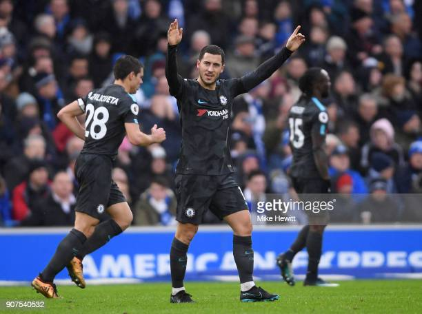 Eden Hazard of Chelsea celebrates after scoring during the Premier League match between Brighton and Hove Albion and Chelsea at Amex Stadium on...