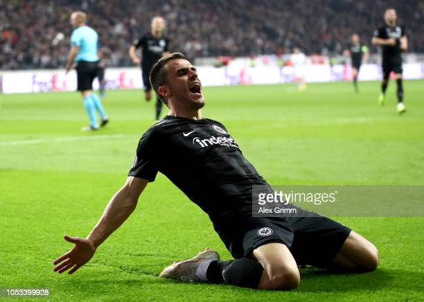 Eden Hazard of Chelsea celebrates after scoring his sides first goal during the UEFA Europa League Group H match between Eintracht Frankfurt and...