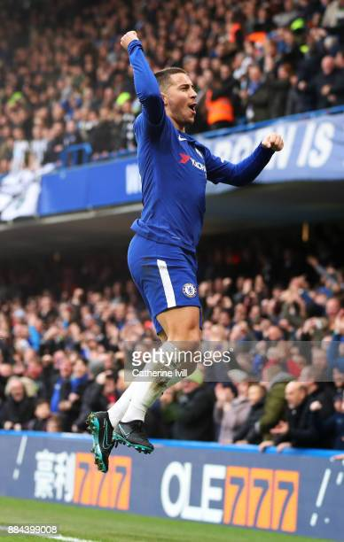 Eden Hazard of Chelsea celebrates after scoring his sides first goal during the Premier League match between Chelsea and Newcastle United at Stamford...