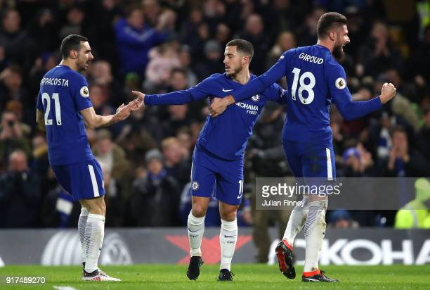 Eden Hazard of Chelsea celebrates after scoring his sides first goal with Olivier Giroud of Chelsea and Davide Zappacosta of Chelsea during the...