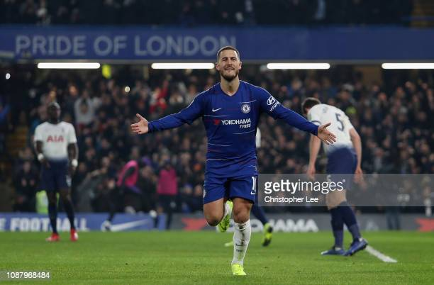 Eden Hazard of Chelsea celebrates after scoring his sides second goal during the Carabao Cup SemiFinal Second Leg match between Chelsea and Tottenham...