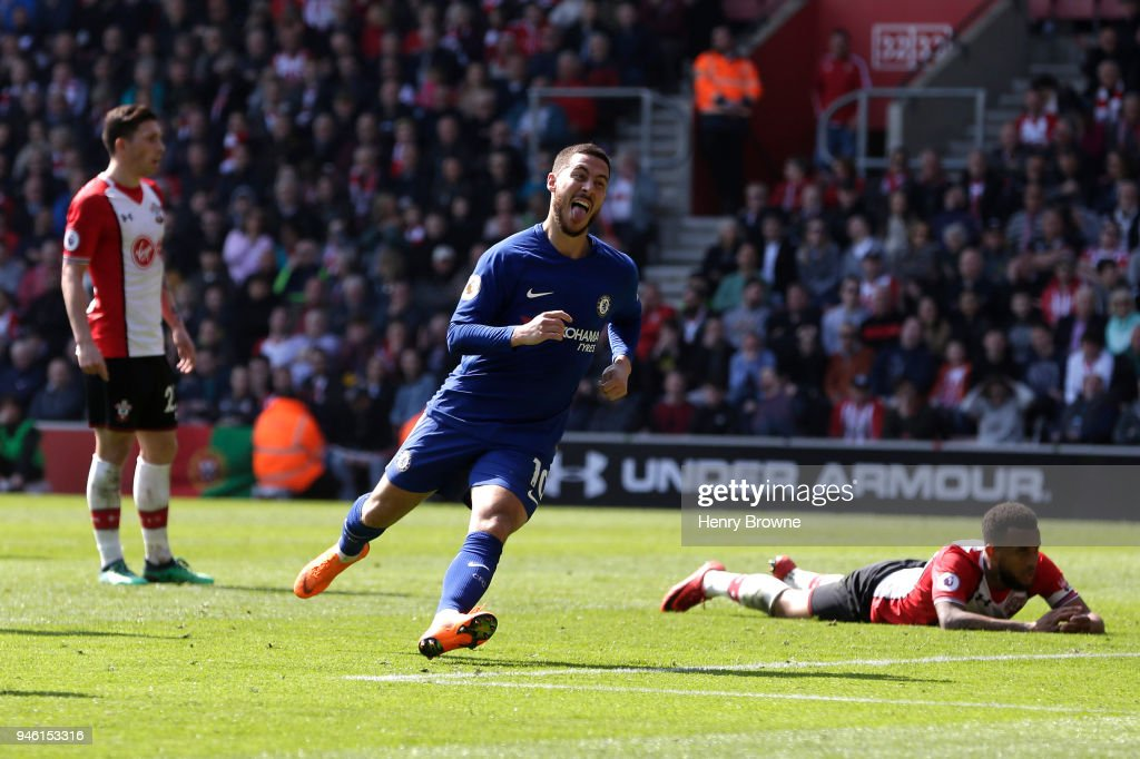 Eden Hazard of Chelsea celebrates after scoring his sides second goal during the Premier League match between Southampton and Chelsea at St Mary's Stadium on April 14, 2018 in Southampton, England.
