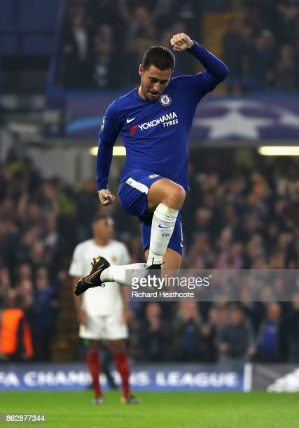 Eden Hazard of Chelsea celebrates after scoring his sides third goal during the UEFA Champions League group C match between Chelsea FC and AS Roma at...