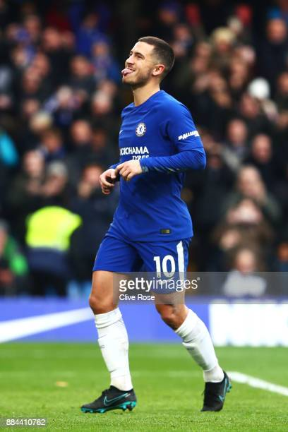 Eden Hazard of Chelsea celebrates after scoring his sides third goal during the Premier League match between Chelsea and Newcastle United at Stamford...