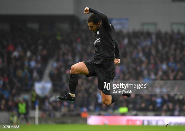 Eden Hazard of Chelsea celebrates after scoring his sides third goal during the Premier League match between Brighton and Hove Albion and Chelsea at...
