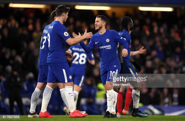 Eden Hazard of Chelsea celebrates after scoring his sides third goal with Alvaro Morata of Chelsea during the Premier League match between Chelsea...