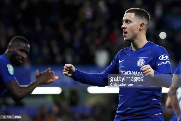 Eden Hazard of Chelsea celebrates after scoring his team's first goal during the Carabao Cup Quarter Final match between Chelsea and AFC Bournemouth...