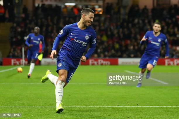 Eden Hazard of Chelsea celebrates after scoring his team's first goal during the Premier League match between Watford FC and Chelsea FC at Vicarage...