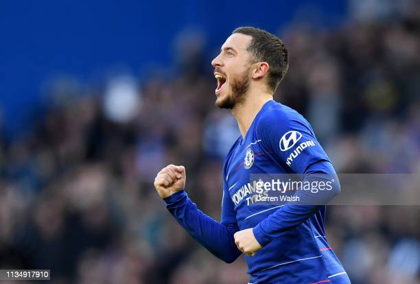 Eden Hazard of Chelsea celebrates after scoring his team's first goal during the Premier League match between Chelsea FC and Wolverhampton Wanderers...