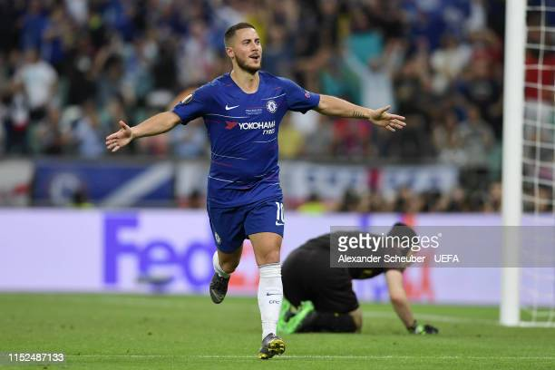 Eden Hazard of Chelsea celebrates after scoring his team's fourth goal as Petr Cech of Arsenal reacts during the UEFA Europa League Final between...