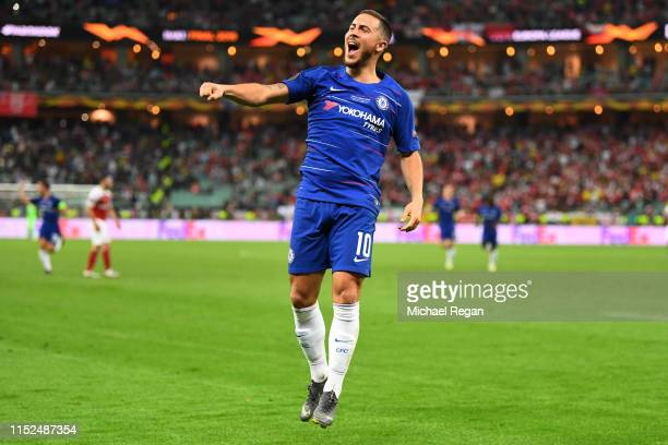 Eden Hazard of Chelsea celebrates after scoring his team's fourth goal during the UEFA Europa League Final between Chelsea and Arsenal at Baku...