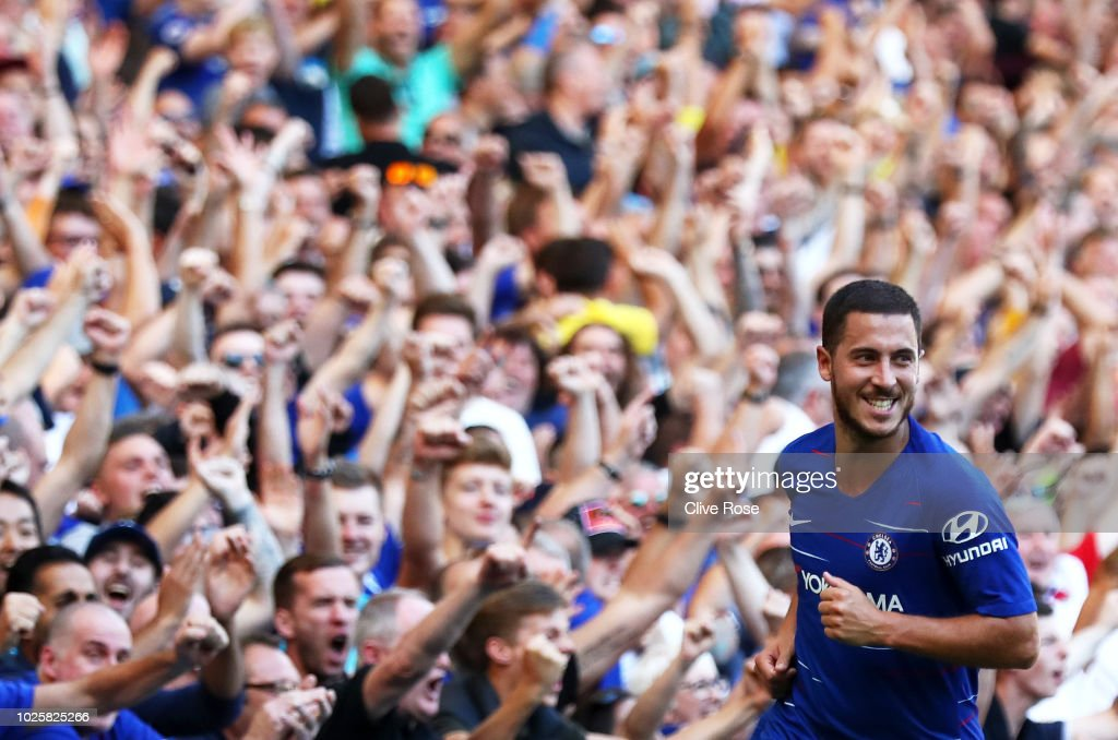 Eden Hazard of Chelsea celebrates after scoring his team's second goal during the Premier League match between Chelsea FC and AFC Bournemouth at Stamford Bridge on September 1, 2018 in London, United Kingdom.
