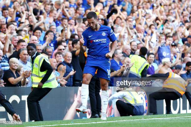 Eden Hazard of Chelsea celebrates after scoring his team's second goal during the Premier League match between Chelsea FC and AFC Bournemouth at...