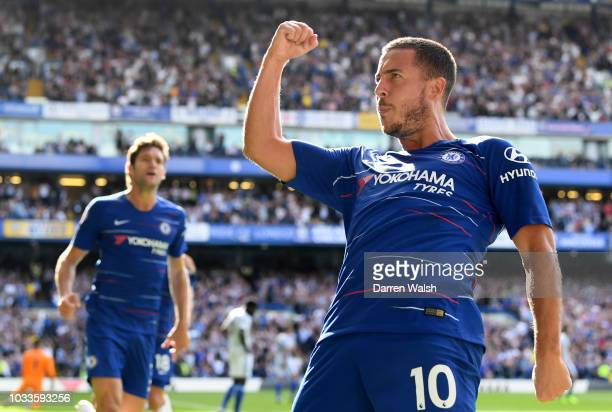 Eden Hazard of Chelsea celebrates after scoring his team's second goal during the Premier League match between Chelsea FC and Cardiff City at...