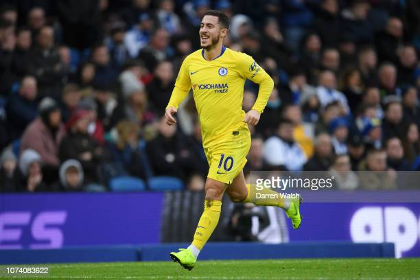 Eden Hazard of Chelsea celebrates after scoring his team's second goal during the Premier League match between Brighton Hove Albion and Chelsea FC at...