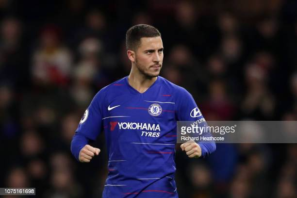 Eden Hazard of Chelsea celebrates after scoring his team's second goal from the penalty spot during the Premier League match between Watford FC and...