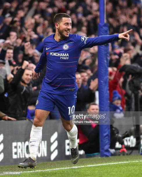 Eden Hazard of Chelsea celebrates after scoring his team's third goal during the Premier League match between Chelsea FC and Huddersfield Town at...