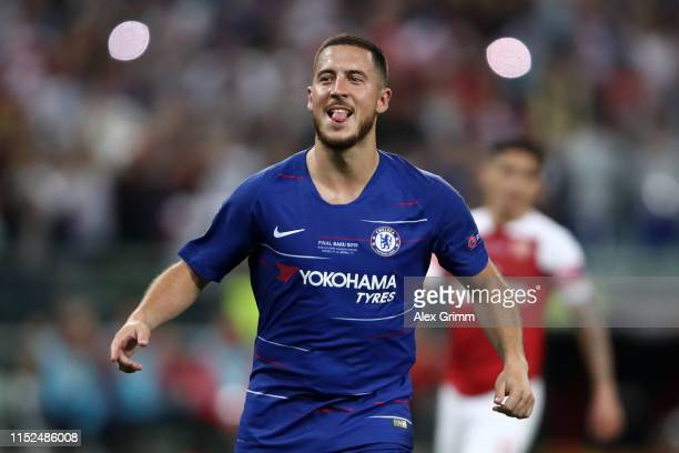 Eden Hazard of Chelsea celebrates after scoring his team's third goal during the UEFA Europa League Final between Chelsea and Arsenal at Baku...
