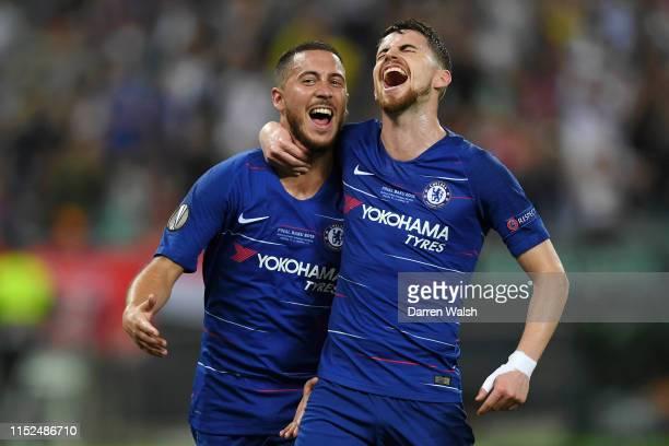 Eden Hazard of Chelsea celebrates after scoring his team's third goal with Jorginho of Chelsea during the UEFA Europa League Final between Chelsea...
