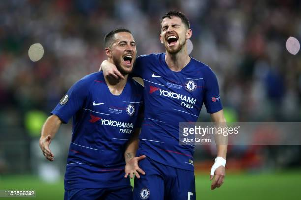 Eden Hazard of Chelsea celebrates after scoring his team's third goal with Jorginho of Chelsea during the UEFA Europa League Final between Chelsea...