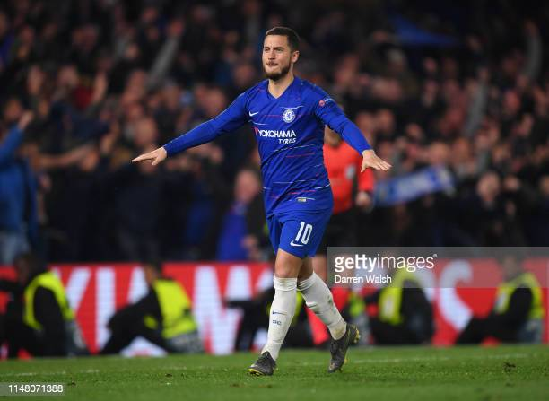Eden Hazard of Chelsea celebrates after scoring the winning penalty in the shoot out during the UEFA Europa League Semi Final Second Leg match...