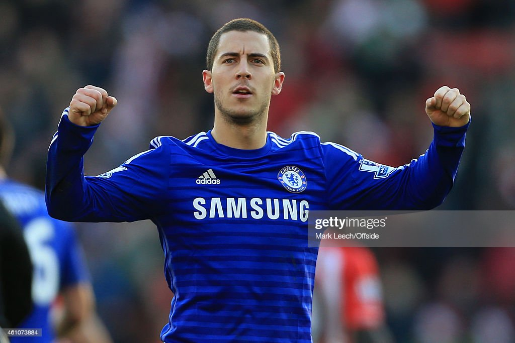 Eden Hazard of Chelsea celebrates after scoring their 1st goal during the Barclays Premier League match between Southampton and Chelsea at St Mary's on December 28, 2014 in Southampton, England.