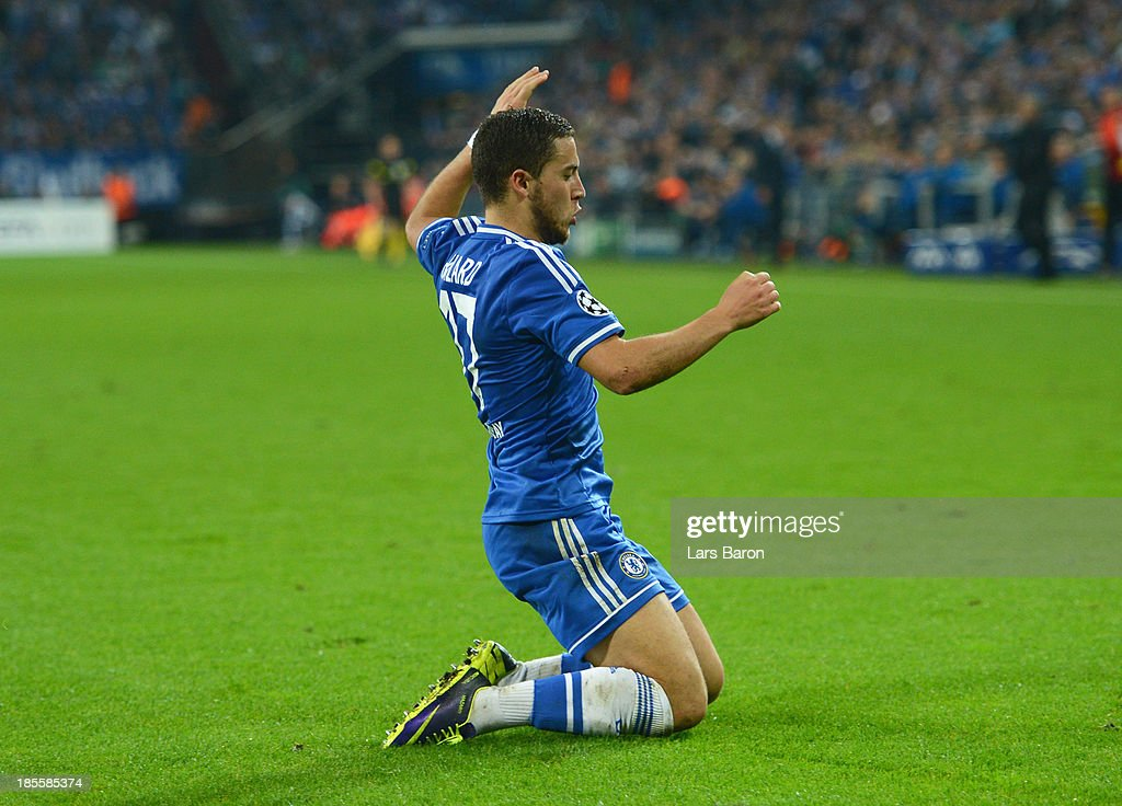 Eden Hazard of Chelsea celebrates as he scores their third goal during the UEFA Champions League Group E match between FC Schalke 04 and Chelsea at Veltins-Arena on October 22, 2013 in Gelsenkirchen, Germany.