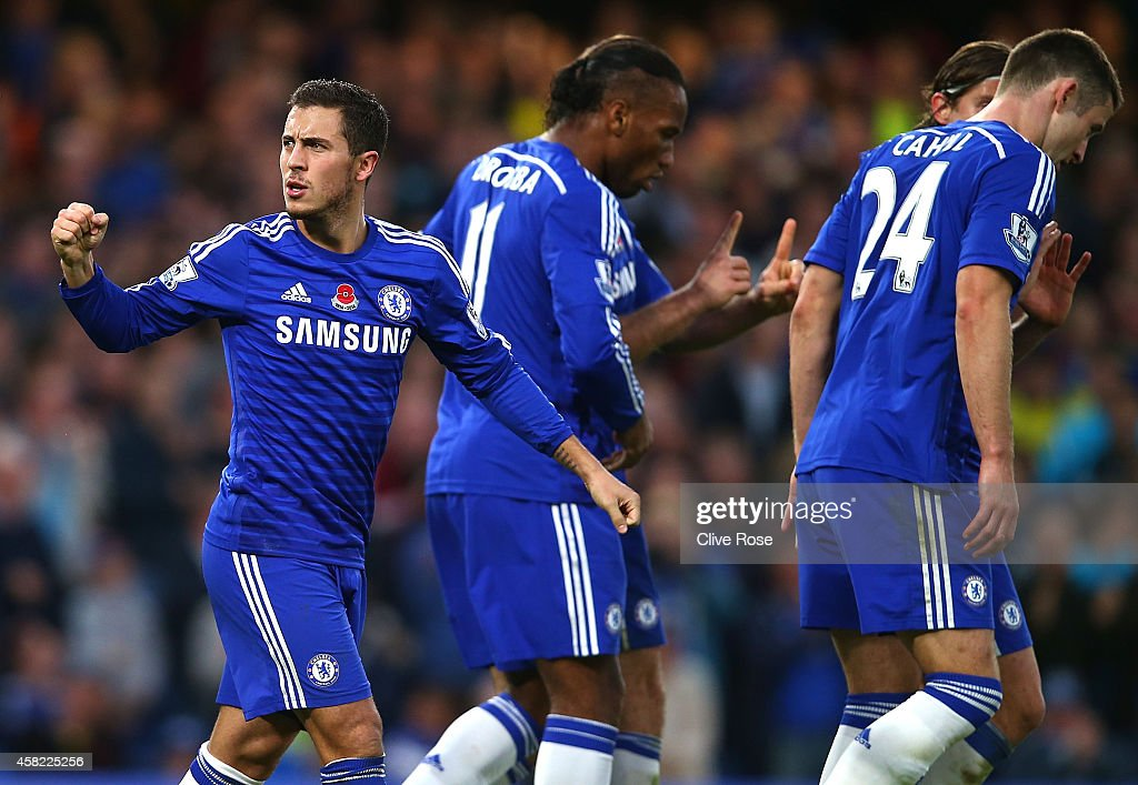 Eden Hazard of Chelsea celebrates his goal during the Barclays Premier League match between Chelsea and Queens Park Rangers at Stamford Bridge on November 1, 2014 in London, England.
