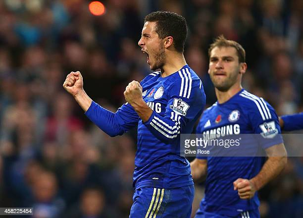 Eden Hazard of Chelsea celebrates his goal during the Barclays Premier League match between Chelsea and Queens Park Rangers at Stamford Bridge on...