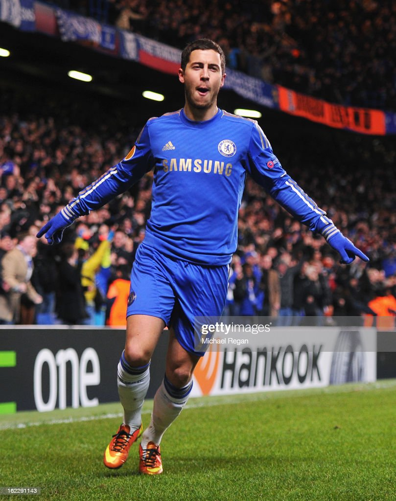 Eden Hazard of Chelsea celebrates his goal during the UEFA Europa League Round of 32 second leg match between Chelsea and Sparta Praha at Stamford Bridge on February 21, 2013 in London, England.