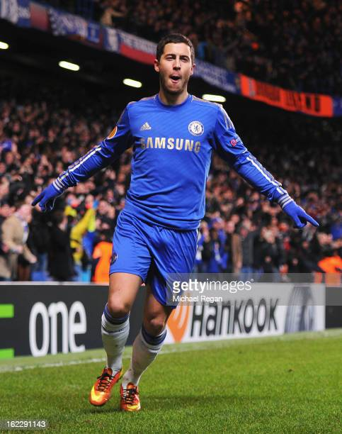 Eden Hazard of Chelsea celebrates his goal during the UEFA Europa League Round of 32 second leg match between Chelsea and Sparta Praha at Stamford...
