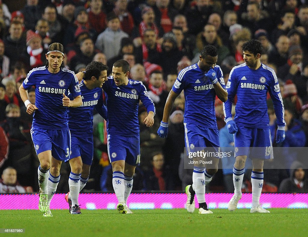 Eden Hazard of Chelsea celebrates his penalty goal during the Capital One Cup Semi-Final First Leg between Liverpool and Chelsea at Anfield on January 20, 2015 in Liverpool, England.