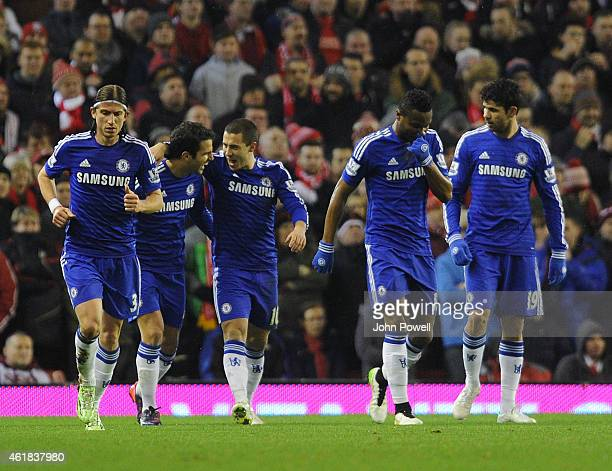 Eden Hazard of Chelsea celebrates his penalty goal during the Capital One Cup SemiFinal First Leg between Liverpool and Chelsea at Anfield on January...