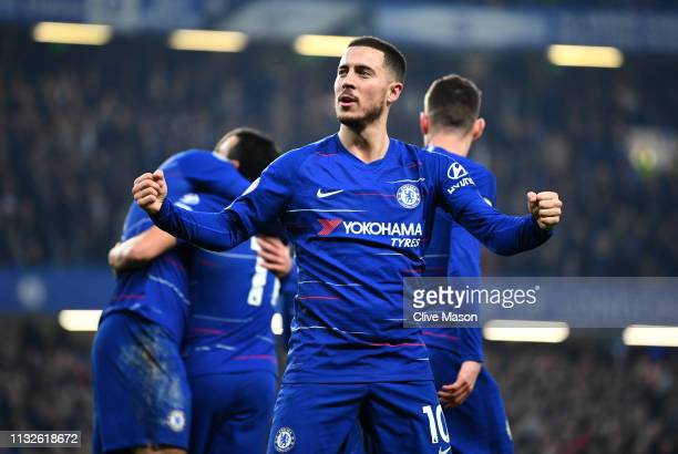 Eden Hazard of Chelsea celebrates his sides first goal the Premier League match between Chelsea FC and Tottenham Hotspur at Stamford Bridge on...