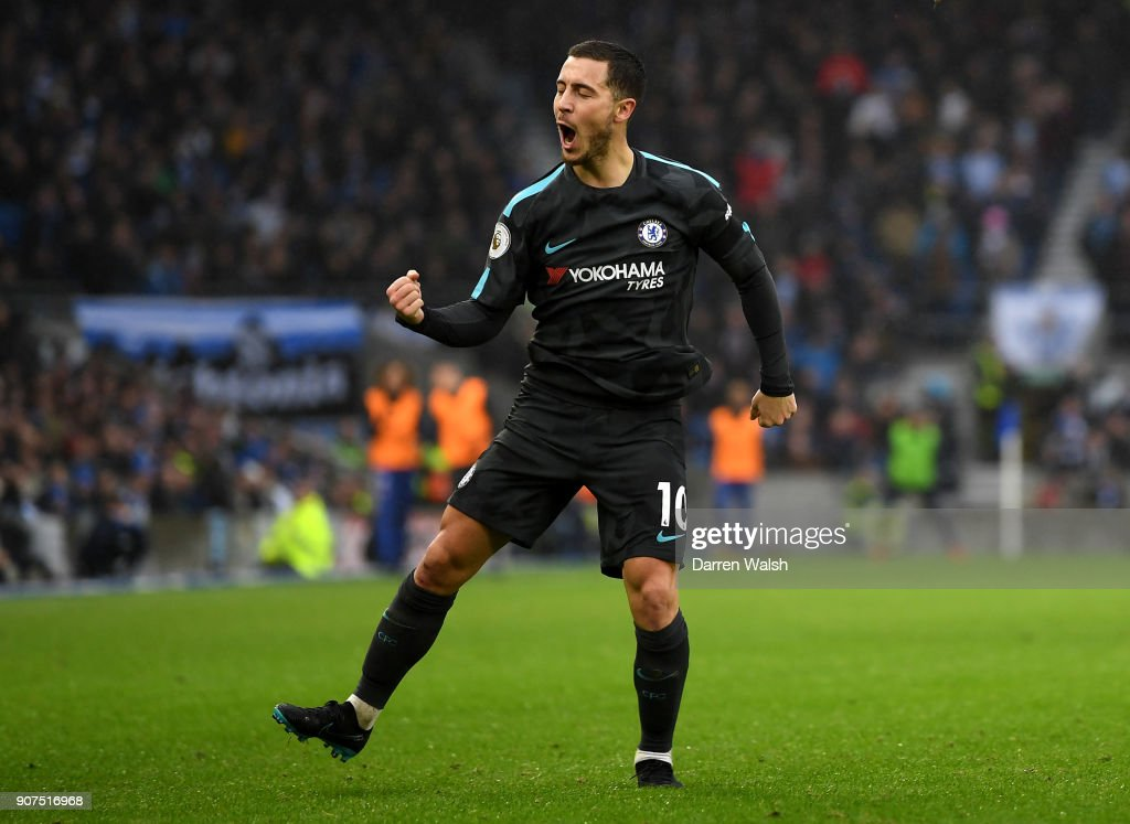 Eden Hazard of Chelsea celebrates scoring his second goal, Chelsea's third, during the Premier League match between Brighton and Hove Albion and Chelsea at Amex Stadium on January 20, 2018 in Brighton, England.