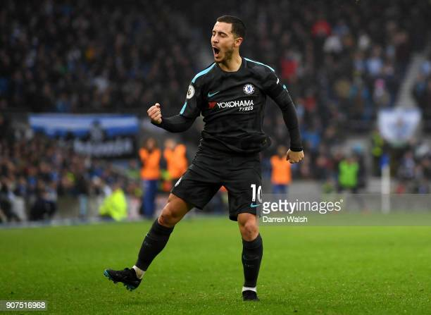 Eden Hazard of Chelsea celebrates scoring his second goal Chelsea's third during the Premier League match between Brighton and Hove Albion and...