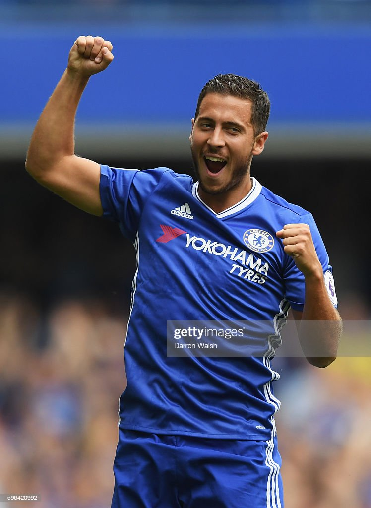 Eden Hazard of Chelsea celebrates scoring his sides first goal during the Premier League match between Chelsea and Burnley at Stamford Bridge on August 27, 2016 in London, England.