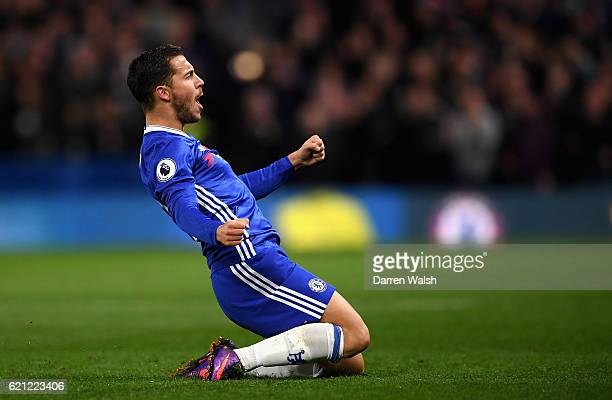 Eden Hazard of Chelsea celebrates scoring his sides first goal during the Premier League match between Chelsea and Everton at Stamford Bridge on...