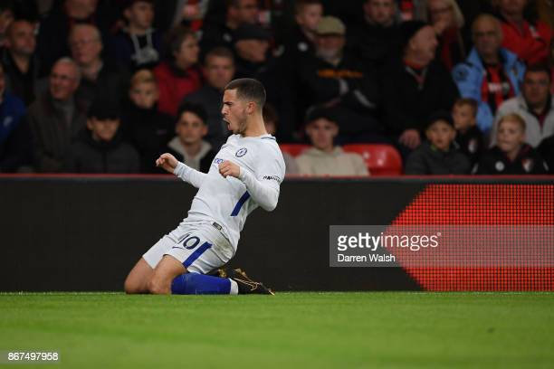 Eden Hazard of Chelsea celebrates scoring his sides first goal during the Premier League match between AFC Bournemouth and Chelsea at Vitality...