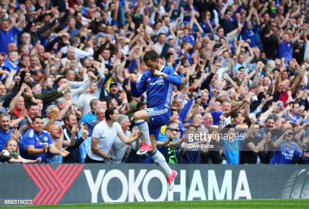 Eden Hazard of Chelsea celebrates scoring his sides second goal during the Premier League match between Chelsea and Sunderland at Stamford Bridge on...